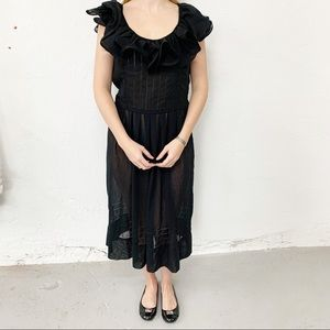 Vtg Albert Nipon Black Sheer Ruffle Dress Size 8